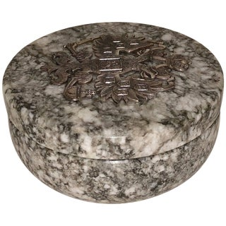 20th Century Neoclassical Russian Tiger Skin Marble Round Box For Sale