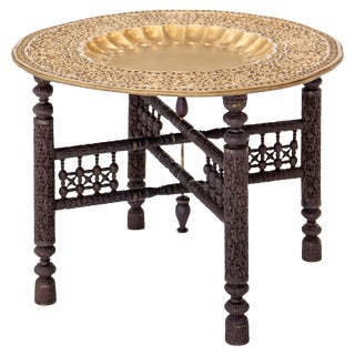 Anglo-Indian Folding Brass Tray Table For Sale