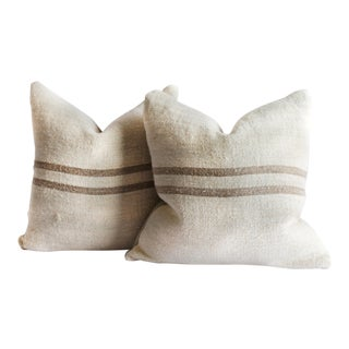 Vintage Grainsack and Linen Pillows With Light Brown Stripes For Sale