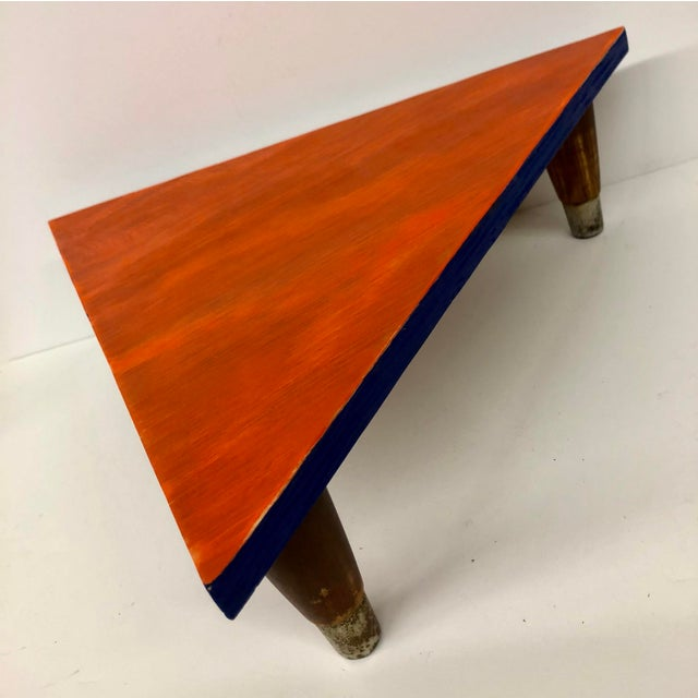 Boho Chic Reclaimed Wood Triangle Low Table For Sale - Image 3 of 13