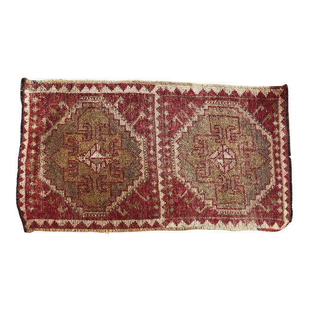 Vintage Red Turkish Handmade Door Mat Rug - 1′6″ × 2′8″ For Sale