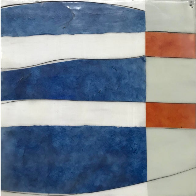 "Gina Cochran ""Perceptions No. 30"" Encaustic Collage Painting - Indigo & Orange For Sale"