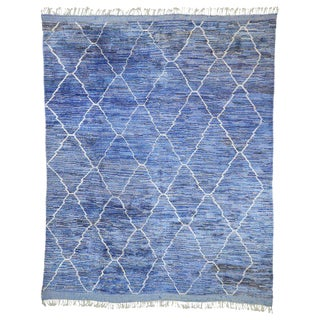 Contemporary Moroccan Postmodern Memphis Style Blue Berber Area Rug - 10′3″ × 12′2″ For Sale
