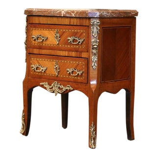 19th Century French Louis XV Marquetry and Bronze Miniature Commode With Marble For Sale