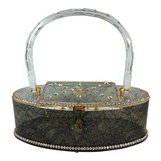 1950s Vintage Patricia of Miami Lace and Rhinestone Oval-Shaped Lucite Handbag For Sale