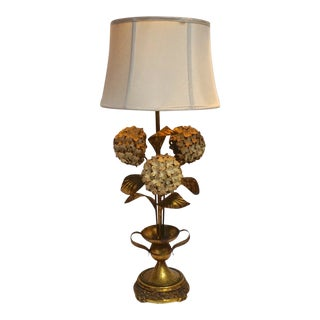 Vintage Italian Gilt Tole Hydrangea Lamp For Sale