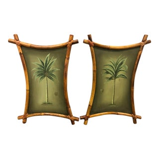 1940s Vintage Tiki Bamboo Framed Palm Tree Oil Paintings - A Pair For Sale