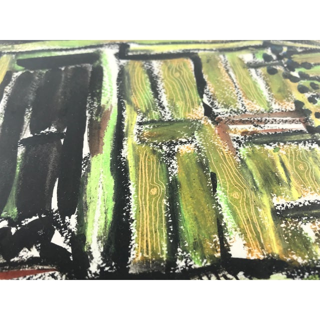 """1996 Small English Abstract """"Green House"""" Framed Painting For Sale In Los Angeles - Image 6 of 11"""