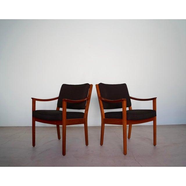 Gunlocke Gunlocke Mid-Century Modern Walnut Armchairs - A Pair For Sale - Image 4 of 13