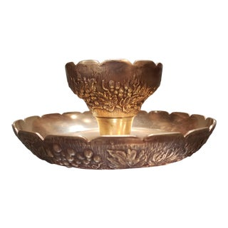 Mid Century Brass Grape Pattern Chip and Dip Bowl For Sale