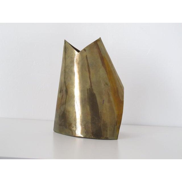 Unmarked Asymmetrical Brass Vase - Image 3 of 11