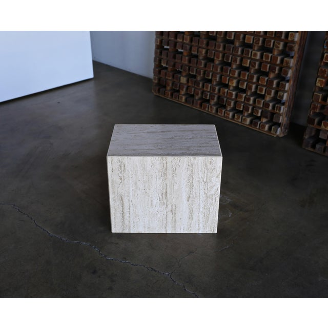 Late 20th Century 1975 Mid-Century Modern Travertine Pedestal or Side Table For Sale - Image 5 of 13