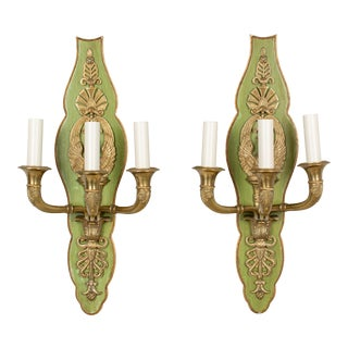 French Empire Style Swan Motif Sconce Pair For Sale