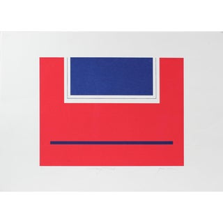 """Gwen Stone """"Military Red"""" Geometric Abstract Serigraph, Circa Late 20th Century For Sale"""