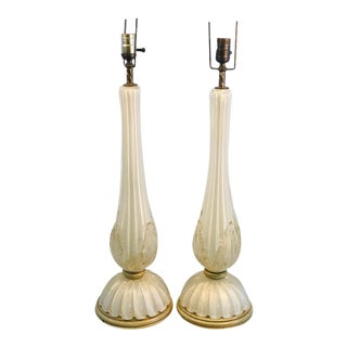 Pair of Seguso Handblown Glass Murano Lamps For Sale