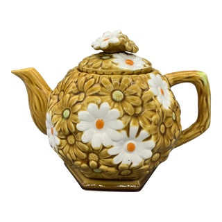 Vintage Fred Roberts White and Orange Daisy Teapot 1950's For Sale