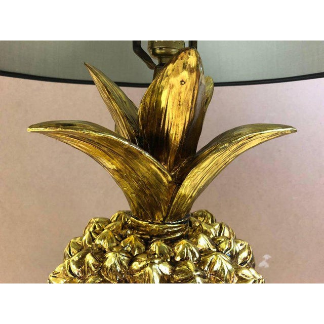 Hollywood Regency Pair Hollywood Regency Gold Pineapple Lamps For Sale - Image 3 of 7