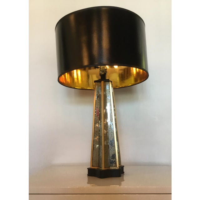 Chic lamp has all the hallmarks of traditional French Deco design. Base made from antique mirror, black lacquer and golf...
