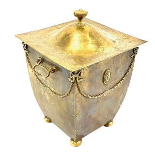 French Empire Lidded Bucket With Floral Roped & Bronze Handles For Sale
