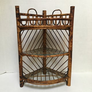 Antique Tortoise Shell Rattan Corner Shelves- a Pair Preview