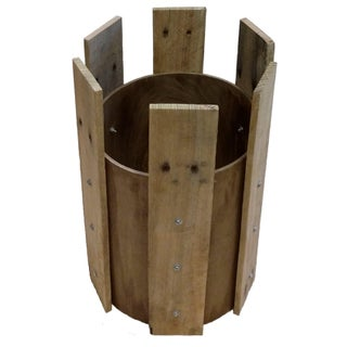 Hardwood Plank Cylinder Side Table Base For Sale