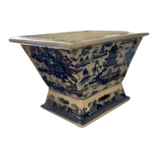 Chinoiserie Blue Willow Rectangle Planter For Sale
