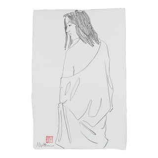 Draped Figure in Black Charcoal, Late 20th Century Drawing For Sale