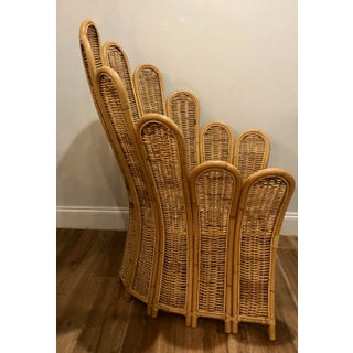 Vintage Rattan and Wicker Palm Beach Palm Frond Peacock Club Chair Preview