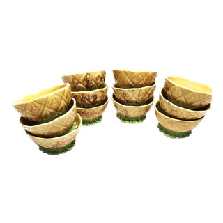 1950s Glazed Pottery Pineapple Bowls - Set of 12