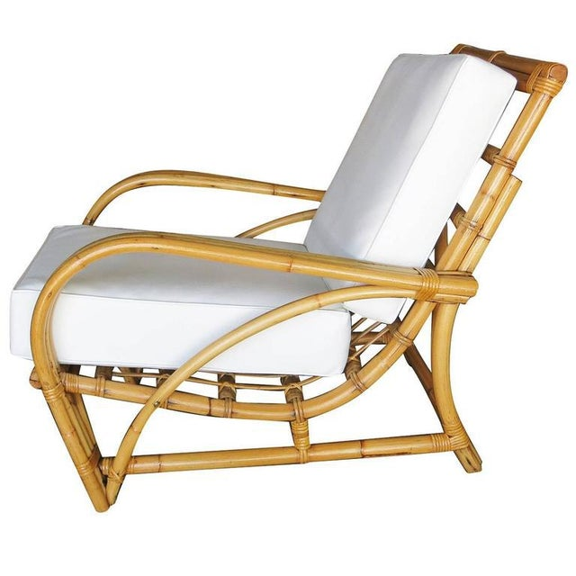 """Hollywood Regency Restored Three-Strand """"1940s Transition"""" Rattan Lounge Chair For Sale - Image 3 of 5"""