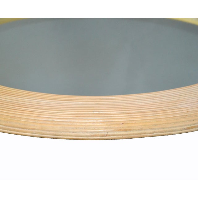 Tan Mid-Century Modern Round Handmade White Washed Pencil Reed Wall Mirror For Sale - Image 8 of 13