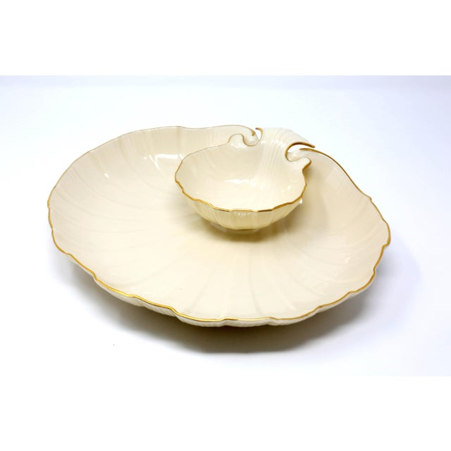 "Gold Lenox ""Aegean"" Gold-Rimmed Shell Dip Bowl For Sale - Image 8 of 8"