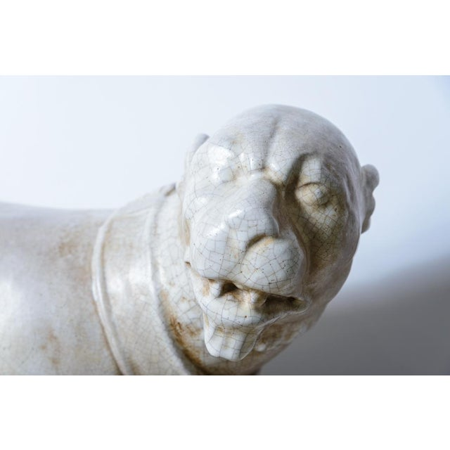 Italian Glazed Terra Cotta Neapolitan Mastiff Dog Sculpture For Sale In West Palm - Image 6 of 11