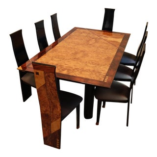 Mid-Century Modern Costantini Burlwood & Lacquer Dining Set For Sale
