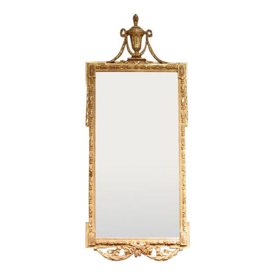 Large Italian Neoclassical Gilt Wood Mirror For Sale