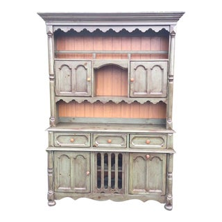 Vintage Broyhill Yorkshire Market Country Green Farmhouse China Cabinet & Hutch For Sale