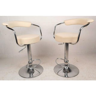 Mid-Century Modern Italian Adjustable Bar Stools -- A Pair Preview