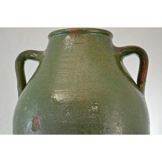 Turkish Oversize Dark Green Glazed Urn For Sale - Image 4 of 9