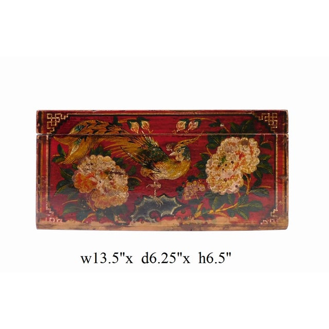 Vintage Red Flower Rectangular Wooden Box - Image 6 of 6