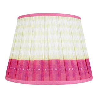 "Pleated Printed Shade with Border 14"" Citrus and Coral For Sale"