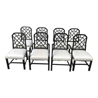 Ebonized and White Chairs With Hollywood Regency Style by Kindel Furniture - Set of 8 For Sale