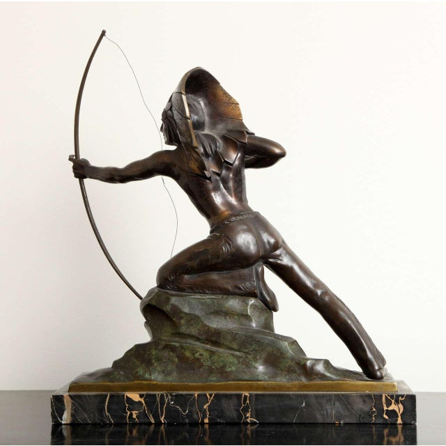 Brown French Art Deco Bronze Signed E. Guy For Sale - Image 8 of 10