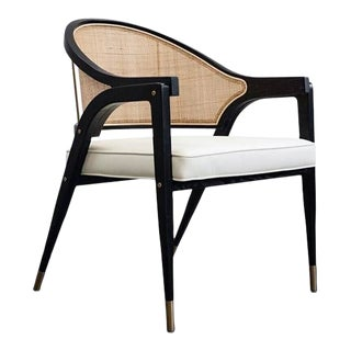 Vesta Gina Vegan Leather and Rattan Lounge Chair For Sale