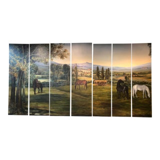 Painted Screens, Panels by Lorraine Schneider - Set of 7 For Sale