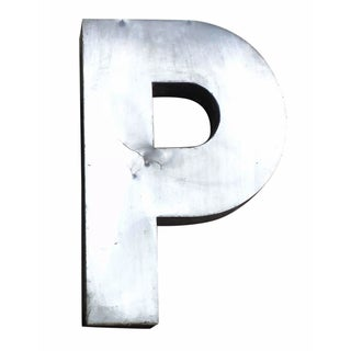 """Antique Industrial Stainless Steel Metal Letter """"P"""""""