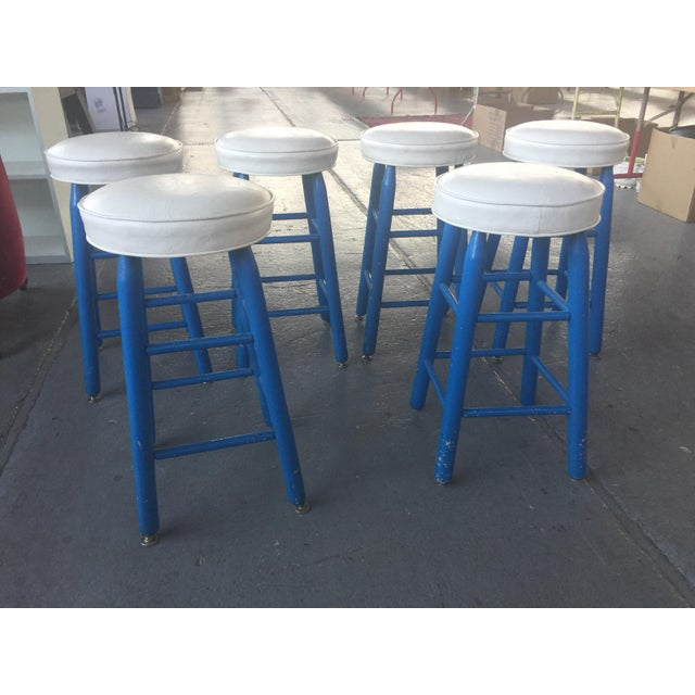 6 Barstools Blue and White For Sale In San Francisco - Image 6 of 6