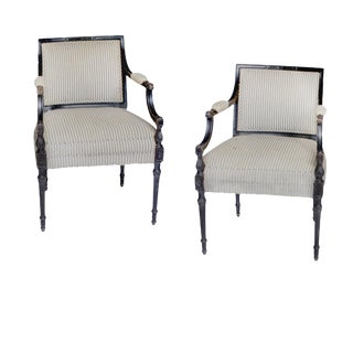 Early 19th Century Vintage Black English Regency Chairs- A Pair For Sale