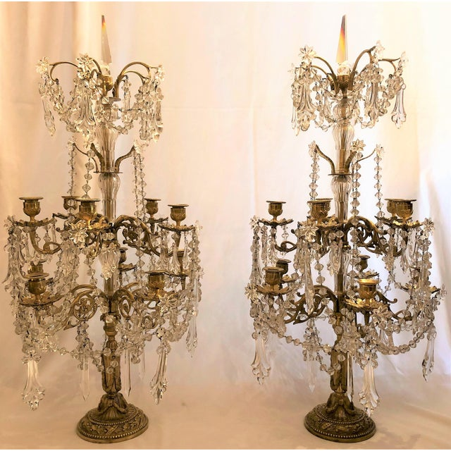 Traditional Pair Antique French Exceptional Baccarat Crystal and Bronze Girondolles. For Sale - Image 3 of 3