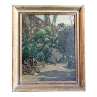 """1949 """"Under the Bridge"""" Landscape Oil Painting by Mentor Huebner, Framed For Sale"""