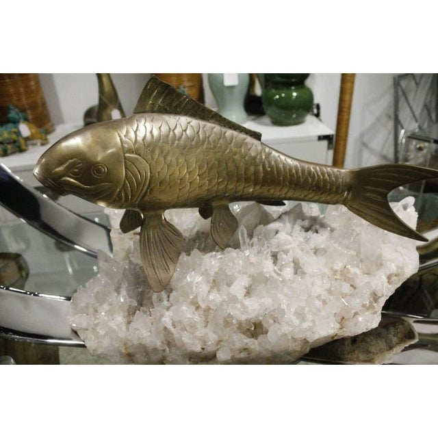 Vintage Brass Koi Fish Statue For Sale - Image 5 of 12